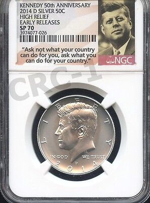 2014 D Kennedy From 50th Ann. Set High Relief E.R. NGC SP70