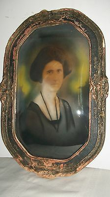 ANTQ./ VICTORIAN  PASTEL PORTRAIT OF A LADY IN ORIG. CONCAVE BUBBLE GLASS FRAME