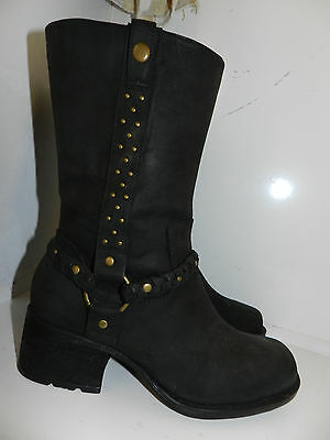 INDIGO BY CLARKS HARNESS MID CALF BOOTS OIL DISTRESSED BLACK LEATHER Sz 7M