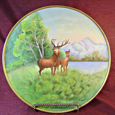 ANTIQUE Huge FABULOUS Artist Painted & Signed A. Haberer DEER Charger EXCELLENT
