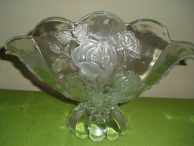 Optic Glass Footed Boat / Bowl with Frosted Roses
