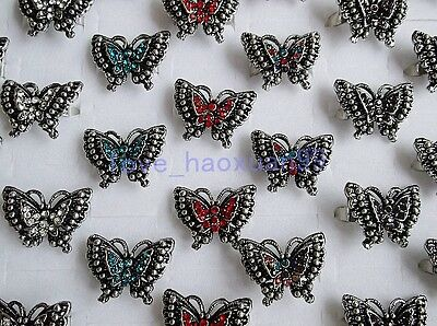 wholesale lots 12PCS butterfly ANIMAL Tibetan silver plated rhinestone ring NEW