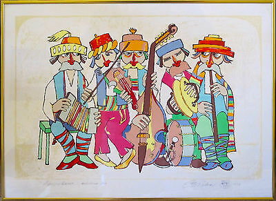 Eastern East European Folk Art of Musicians, Artist's Proof, Signed Sican 1978