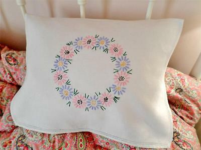 VINTAGE Cushion Cover HAND EMBROIDERED Floral NIGHTDRESS CASE Linen DAISY CHAIN