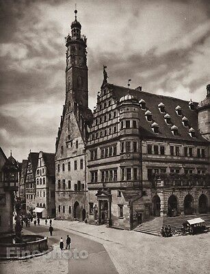 1924 Vintage GERMANY Rothenburg Town Hall People Cityscape Photo Art ~ HIELSCHER