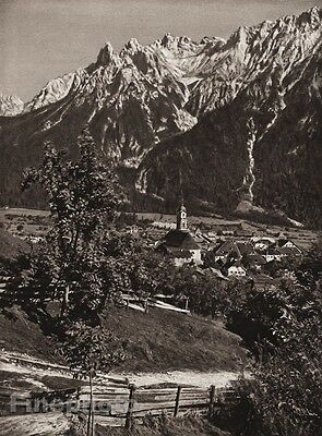 1924 Vintage GERMANY Mittenwald Village Karwendel Mountain Landscape ~ HIELSCHER