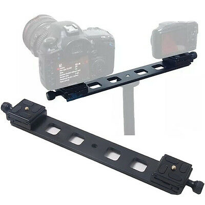Double Dual DSLR Camera Tripod Mount Bracket Ball Head With Quick Release Plate