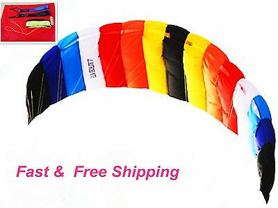 2mt Beginner Stunt Power Traction Trainer Rainbow outdoor kite with flying lines