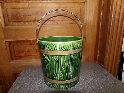 Vintage Green Hull Art Pottery Bucket Shaped Planter with Metal Bail Handle