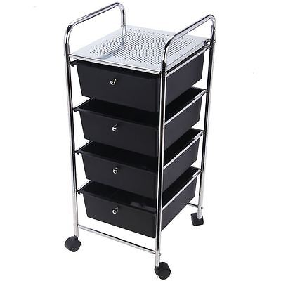 4 Tier Drawer Trolley Black Chrome Cart Storage Tool Rack New By Home Discount