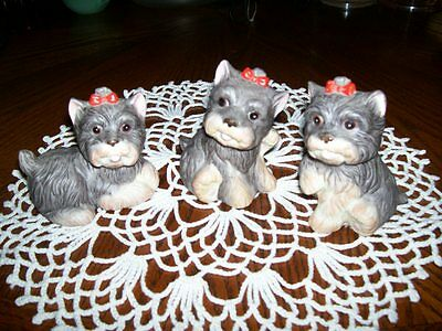 Set of Three Home Interior Scotty Dogs Figurines Porcelain