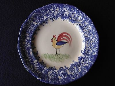Molly Dallas Blue Spatterware - Small Plate with Folk Art Rooster