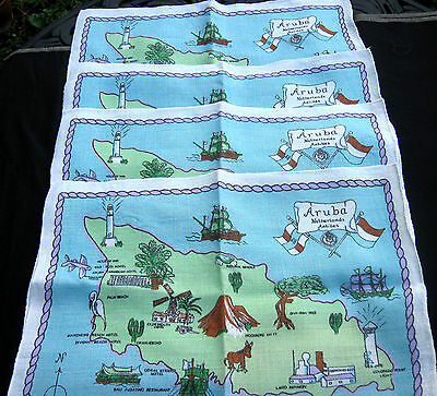 vtg set ARUBA island map Dunmoy Irish Linen Placemats souvenir lot Ireland blue