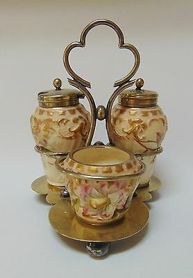 SCARCE HAND PAINTED PORCELAIN CONDIMENT SET TAYLOR, TUNNICLIFFE & CO 1875-1898