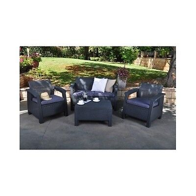 Patio Set Charcoal Outdoor Yard Furniture Pool Deck Dining Table Conversation