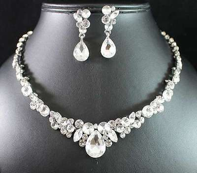 Shiny Floral Clear Austrian Rhinestone Bridal Necklace Earrings Set Silver N1811