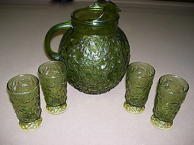 ANCHOR HOCKING LIDO MILANO GREEN BALL PITCHER & 4 FOOTED JUICE GLASSES TUMBLERS