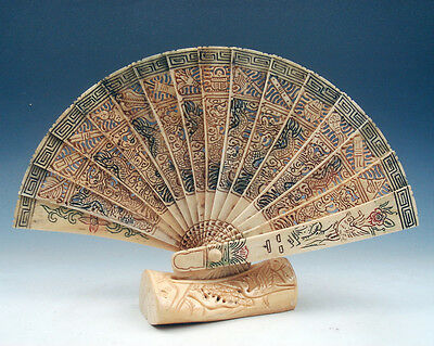 Bone Dragons Birds Floral Hand Crafted & Hand Painted Folding Fan w/ Stand #A2