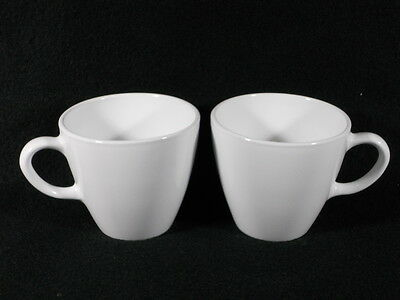 2 Corning Centura -WHITE-Coffee /Tea CUPs-3 inches tall-Looks Unused, EUC