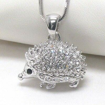 Crystal & silver hedgehog pendant necklace NEW free ship in USA