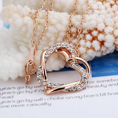 New 18K Rose Gold Filled Women's Hearts Pendant Necklace With Swarovski Crystal