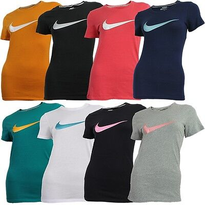 Nike SWOOSH IT UP TEE women's basic T-Shirt orange black white red blue grey NEW