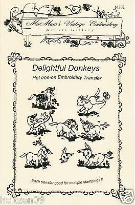M302 Donkey Tea towels DOW Embroidery HOT IRON Transfer pattern