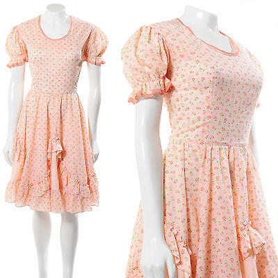 SORBET PUFF SLEEVE RUFFLE FLORAL CHINTZ PRINT vintage 70s SQUARE DANCE DRESS S