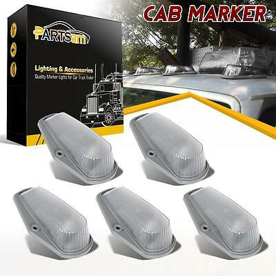 5pcs Clear Cab Roof Running Marker Light Assembly Kit For Ford F-150 F-250 F-350