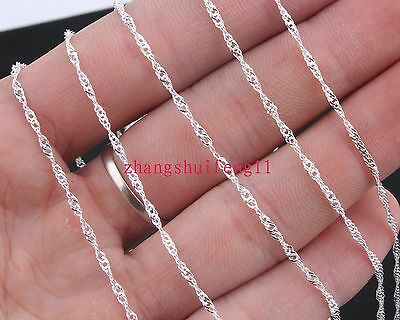 FREE HOT Wholesale Fashion  5pcs 925 Sterling Silver Waves Necklace Chains 22""