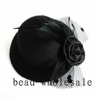 Women/Girl Black Elegant Mini Top Feather Hat Fascinator Hair Clip Party Costume