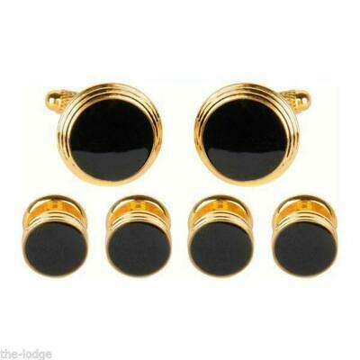Onyx Cufflinks and Dress Studs (4) Gift Set - Gold Plate (LR237)