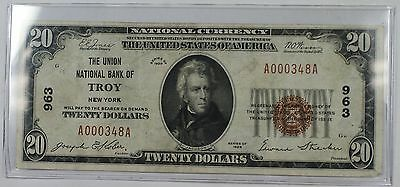 1929 Type 1 United States $20 National Bank Note Troy, New York Charter #963