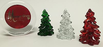 """Mosser Glass 3"""" Trio of Glass Christmas Trees Hunter Green Clear Red Made in USA"""