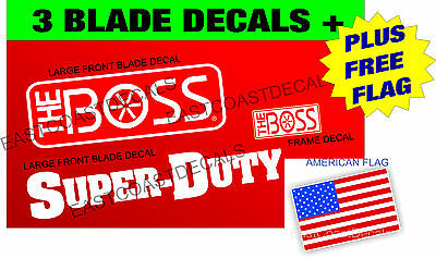 3 BOSS Super Duty Snow Plow Blade Decal Kit NEW decals+1 FREE AMERICAN FLAG BSD