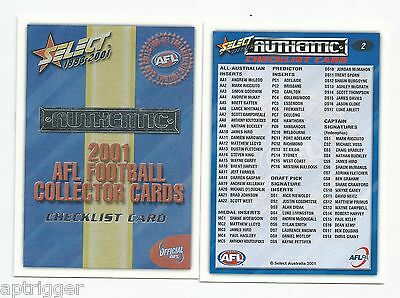 2001 Select Authentic CHECK LISTS