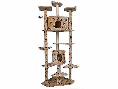 """New 80"""" Cat Kitty Tree Tower Condo Furniture Scratch Post Pet House Beige Paws"""