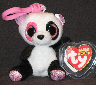 TY BEANIE BOOS - PENNY the PANDA BEAR  KEY CLIP - JUSTICE EXCLUSIVE -MINT TAGS
