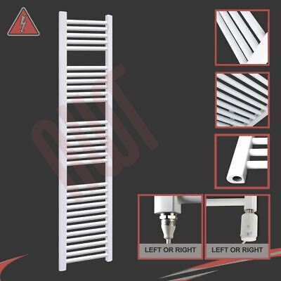 300mm(w) x 1800mm(h) Electric Straight White Heated Towel Rail Radiator 600W