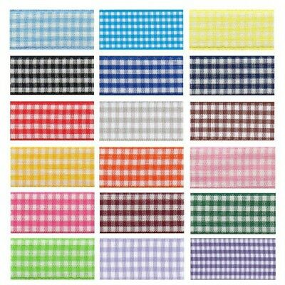 15mm x 2m, 5m or 20m Berisfords Check Gingham Polyester Craft Ribbon