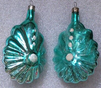 2 Vintage Russian Glass Christmas Xmas Ornament Big Icicles