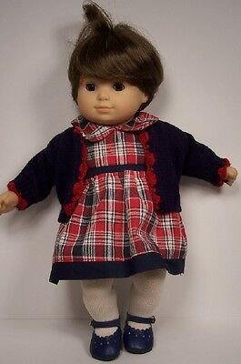 2pc BURGUNDY NAVY  CREAM Dress w/Sweater Doll Clothes For Bitty Baby Girl DEBs