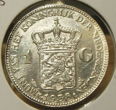 1938~~NETHERLANDS~~1 GULDEN~~BU-UNC SILVER BEAUTY~~RARE