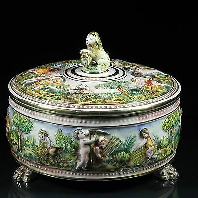 Italian Capodimonte Putti Covered Footed Harvest Bowl Lion Finial Paw Feet Gilt