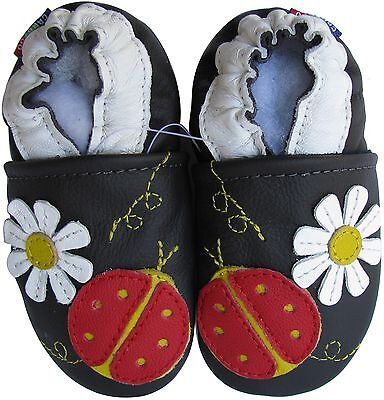 carozoo ladybug flower dark brown 4-5y soft sole leather kid shoes slippers