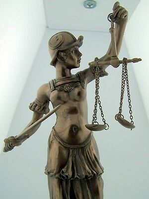 """Lawyer Gift Bronze 9"""" Lady of Justice w Sword Statue Figure Home Office Decor"""
