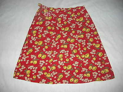 VINTAGE 1940S WWII ROCKABILLY JITTERBUG RED RAYON FLORAL NOVELTY PRINT SKIRT S