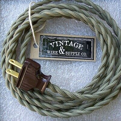 Olive Green - Cloth Covered Rewire Kit - Wire & Plug - Vintage - Fan Kit Restore