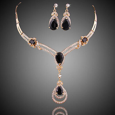 Black Zircon Gold Plated African Necklace Earrings Clear Crystal Jewelry Sets