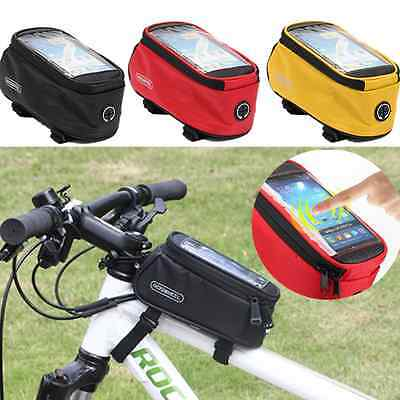 """Roswheel Mountain Bike Bicycle Frame Front Top Tube Bag Pannier For 5.5"""" Phone"""